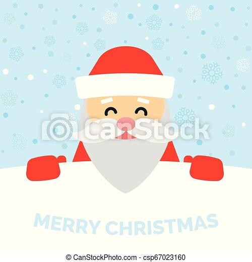 Una tarjeta de felicitación con Santa Claus y nieve cayendo - csp67023160