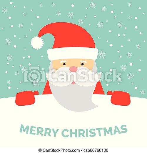 Una tarjeta de felicitación con Santa Claus y nieve cayendo - csp66760100