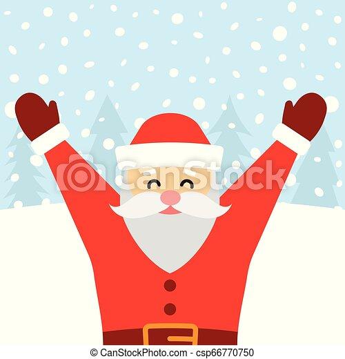 Una tarjeta de felicitación con Santa Claus y nieve cayendo - csp66770750