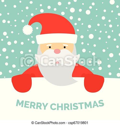 Una tarjeta de felicitación con Santa Claus y nieve cayendo - csp67019801
