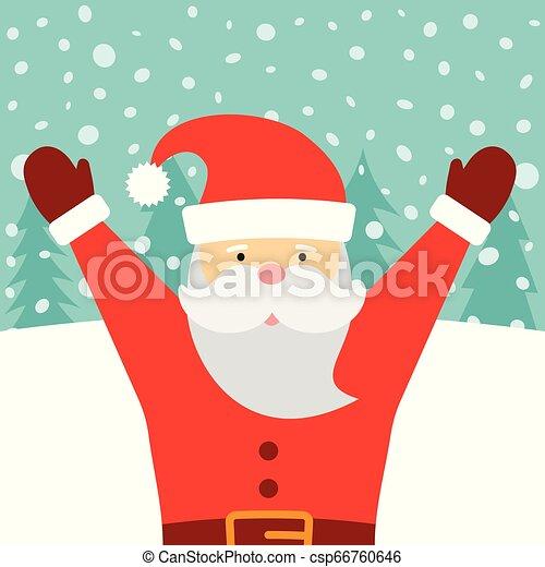 Una tarjeta de felicitación con Santa Claus y nieve cayendo - csp66760646