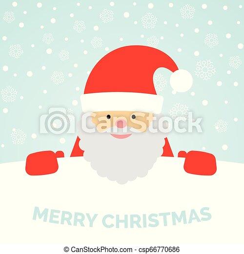 Una tarjeta de felicitación con Santa Claus y nieve cayendo - csp66770686