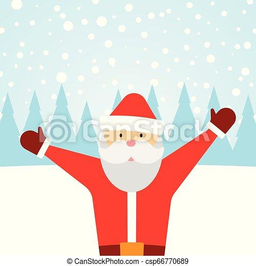 Una tarjeta de felicitación con Santa Claus y nieve cayendo - csp66770689