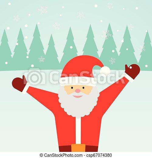 Una tarjeta de felicitación con Santa Claus y nieve cayendo - csp67074380