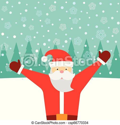 Una tarjeta de felicitación con Santa Claus y nieve cayendo - csp66770334