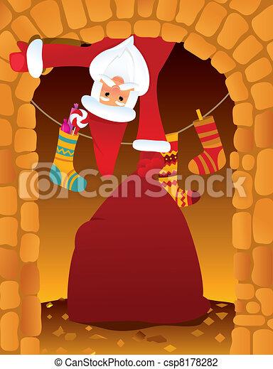 Claus santa chimenea claus chimenea eva santa - Dibujos de chimeneas de navidad ...