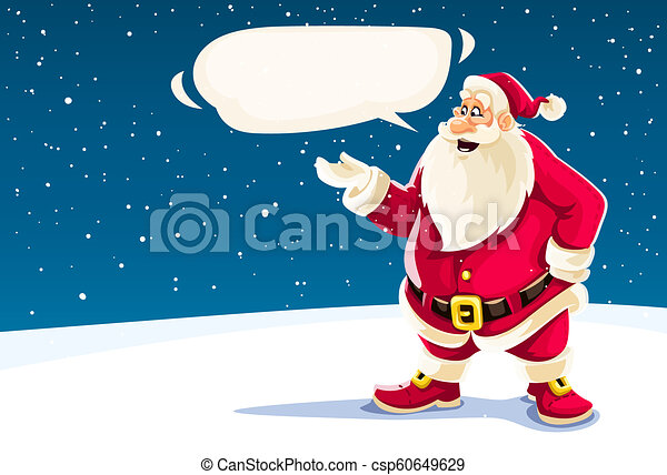 Der Weihnachtsmann spricht mit Botschaftswolke. - csp60649629