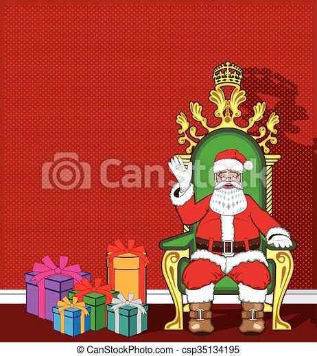 claus, sien, chaise, santa - csp35134195