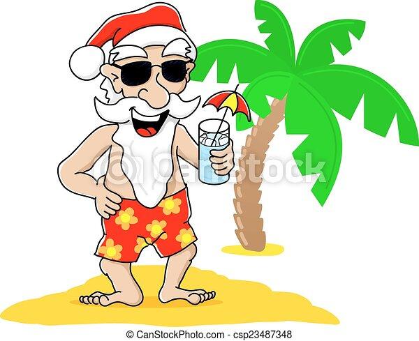 Santa Claus en Navidad de vacaciones en la playa - csp23487348