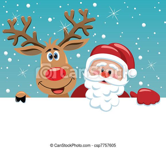claus, veado, rudolph, santa - csp7757605
