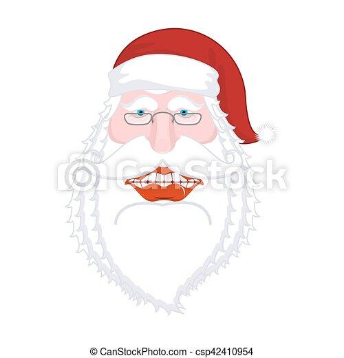 Feliz Santa Claus. Una gran sonrisa. Boca grande. Feliz Navidad, viejo. Planta de diseño de Navidad. Ilustración para el año nuevo - csp42410954
