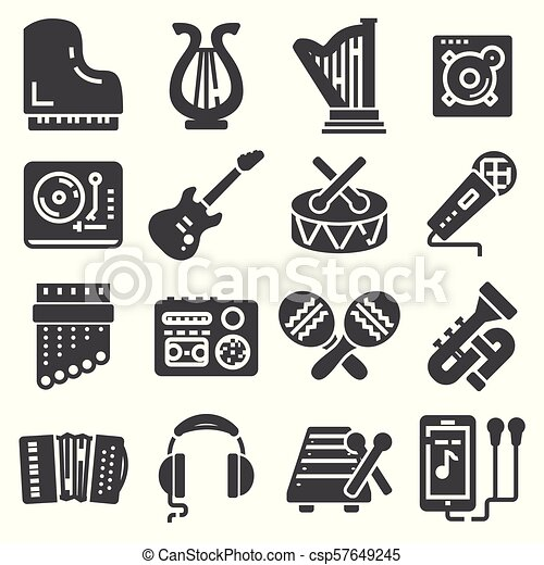 Clave De Sol Conjunto Auriculares Iconos Guitarra Contiene Icons Vector Música In Ear Tal Trompeta
