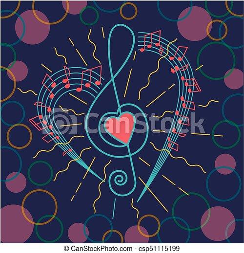 Clave De Sol Musical Plano De Fondo Triple Corazón Forma Plano