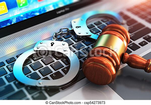 clavier, juge, ordinateur portable, menottes, maillet - csp54273973