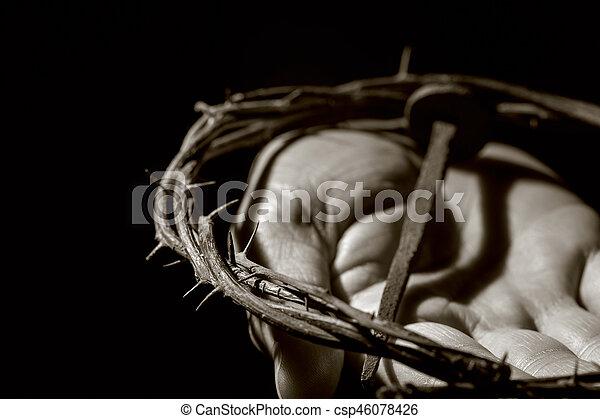 Clavo Espinas Corona Hombre Cristo Corona Joven Mano Clavo