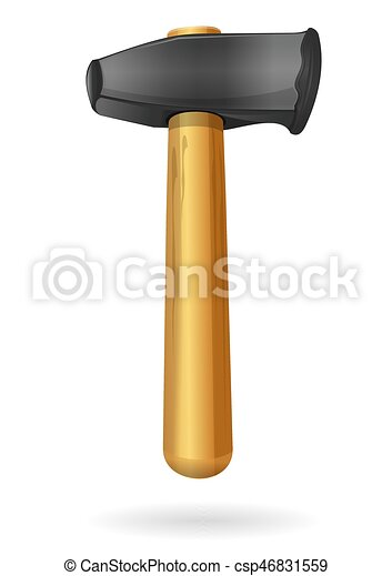 Claw hammer. Hammer with the wooden handle - csp46831559