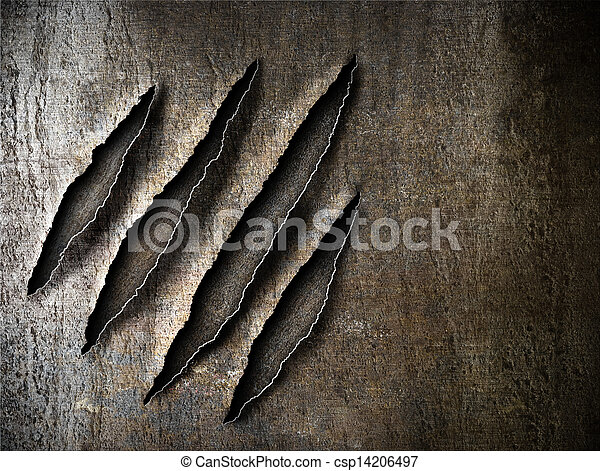 claws scratches marks on rusty metal plate - csp14206497