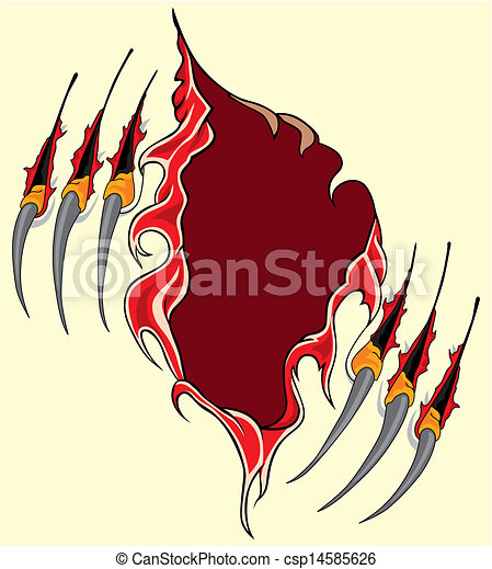 Claws scratches vector - csp14585626