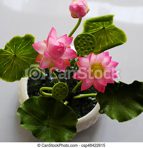 Clay art pink lotus flower pot art and craft product from stock clay art pink lotus flower pot csp48422615 mightylinksfo