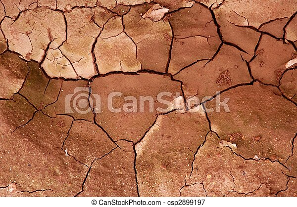 Clay dried red soil cracked texture background - csp2899197