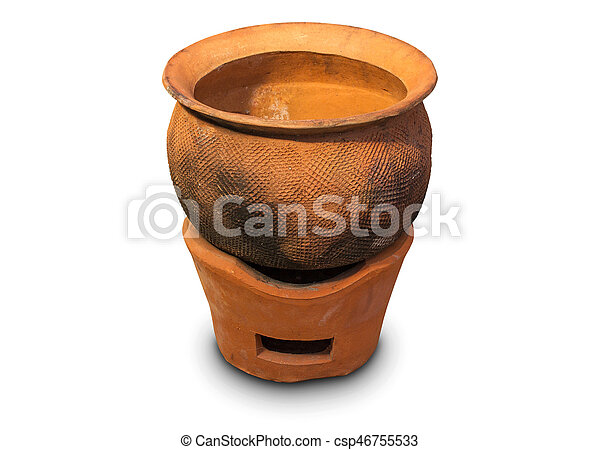 196 & Clay pot on clay stove isolated on white background