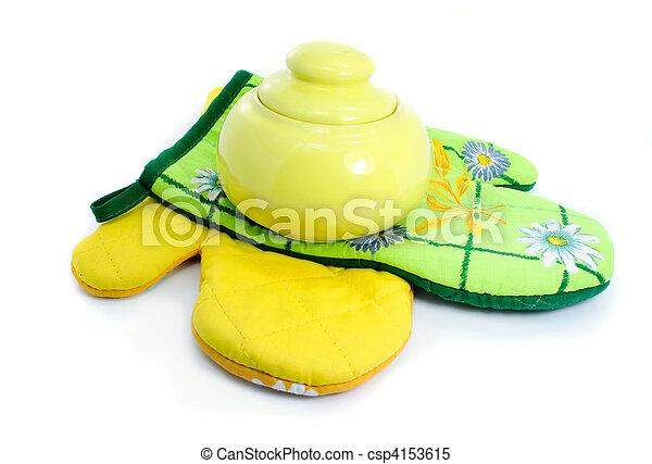 clay pot on kitchen mittens - csp4153615