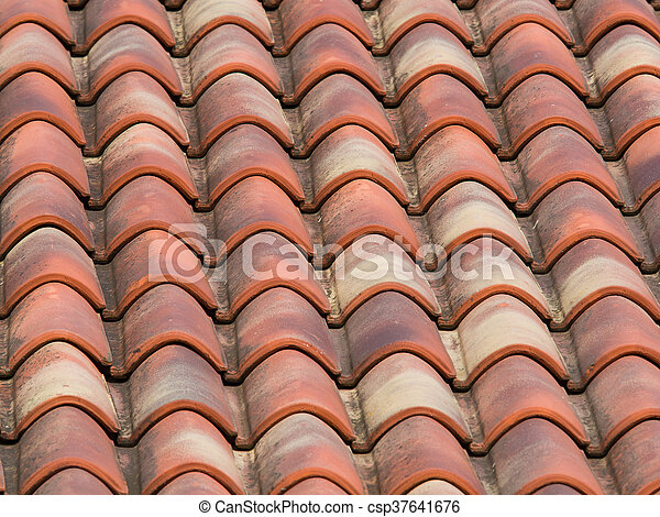 Clay Terracotta Tiles On The Roof Of A Country House