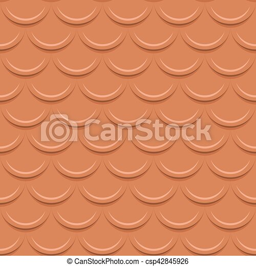 Clay tile roof seamless vector pattern. - csp42845926