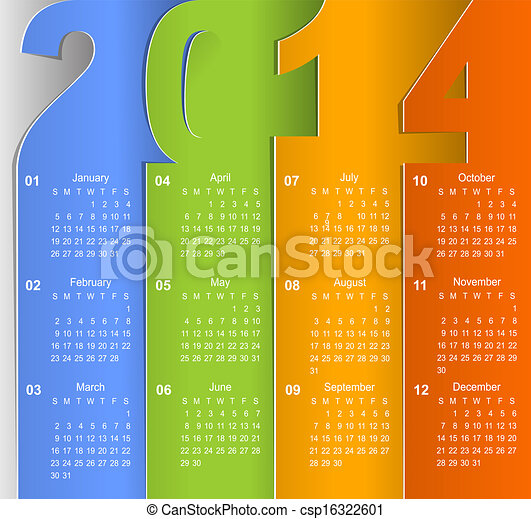 Clean 2014 business wall calendar - csp16322601