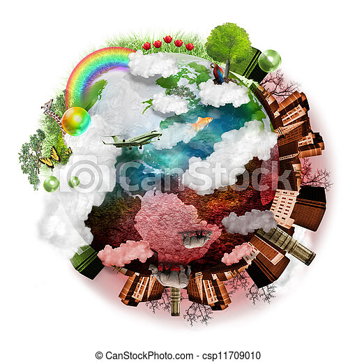 Clean Air and Polluted Earth Mix - csp11709010