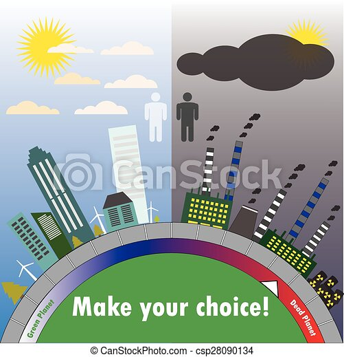 Clean and dirty city, the scale of contamination. The flat design. vector. - csp28090134