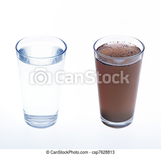 Clean and dirty water in drinking glass - concept - csp7628813