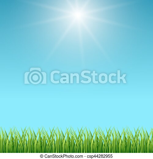 clean blue sky and green grass vector background spring design landscape illustration https www canstockphoto com clean blue sky and green grass vector 44282955 html