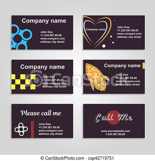 Clean business card a set of six template in dark style clean clean business card a set of six template in dark style csp42719751 colourmoves