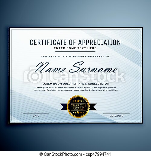 Clean certificate of appreciation template design eps vector clean certificate of appreciation template design csp47994741 yadclub Image collections