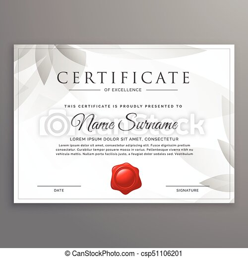 clean certificate of excellence template design - csp51106201