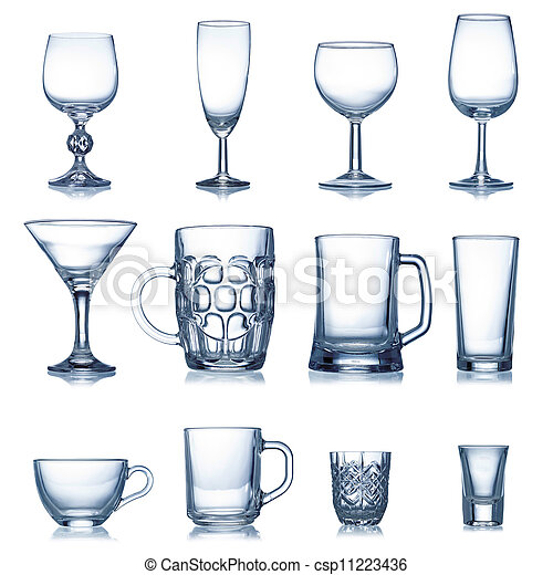 Clean empty glassware collection isolated - csp11223436