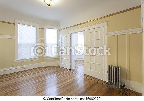 clean empty studio apartment room. Black Bedroom Furniture Sets. Home Design Ideas