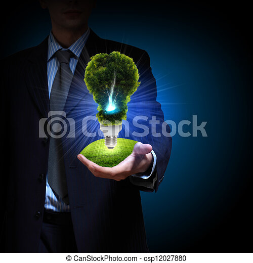clean energy. green light bulb - csp12027880