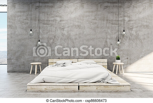 Clean loft style bedroom interior with bed - csp86606473