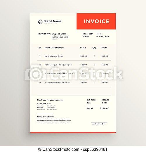 Clean Simple Invoice Template Design