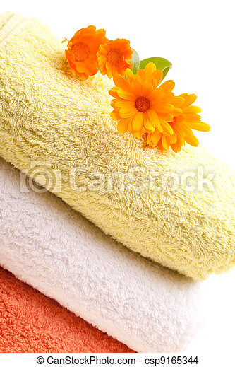 Clean Towels With Calendula Flowers - csp9165344