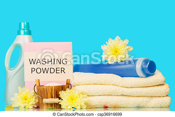 Clean towels with means for washing and yellow flowers on a blue clean towels with means for washing and yellow flowers csp36916699 mightylinksfo