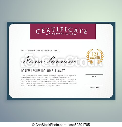 clean vector certificate template design - csp52301785