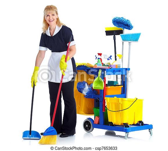 cleaner maid woman cleaner maid woman with janitor cart isolated