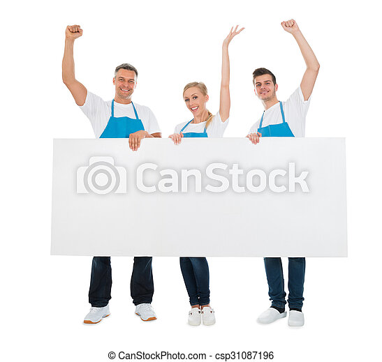 Cleaners Cheering While Holding Banner - csp31087196