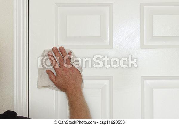 Cleaning a Door - csp11620558
