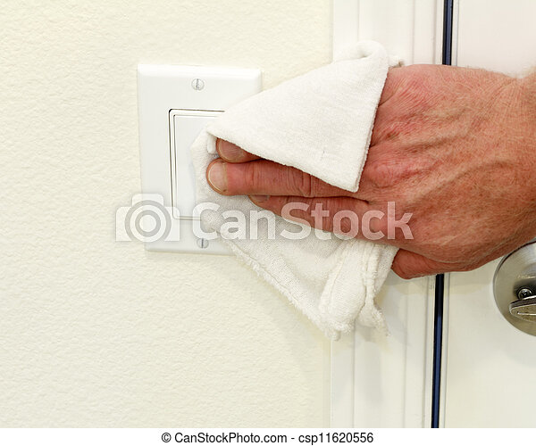 Cleaning a Light Switch - csp11620556