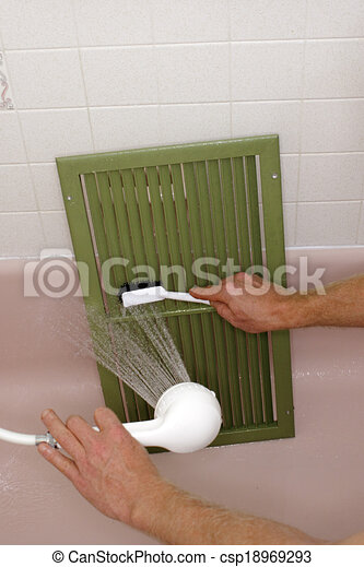 Cleaning an Air Return Vent - csp18969293