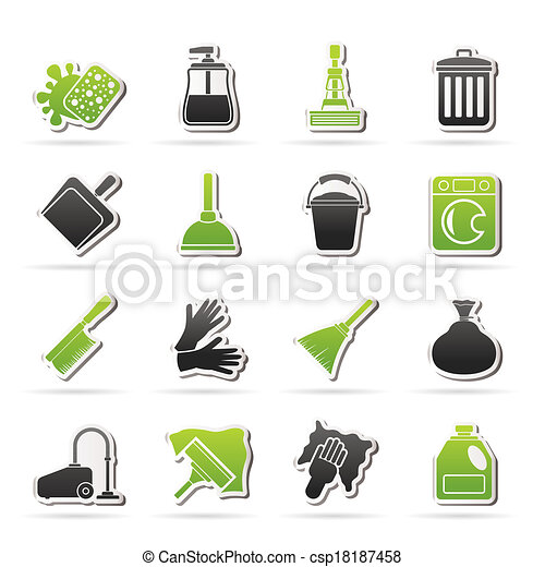 Cleaning and hygiene icons - csp18187458